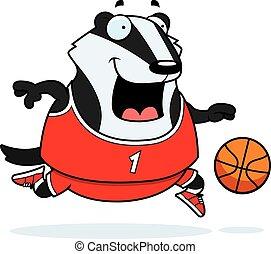 Cartoon Badger Basketball