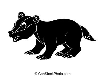 Cartoon badger silhouette isolated on white background