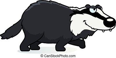 Cartoon Badger Stalking - A cartoon illustration of a badger...