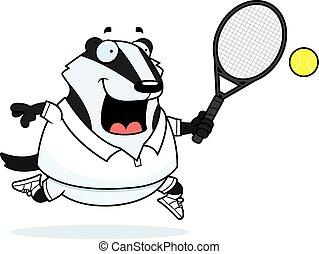 Cartoon Badger Tennis