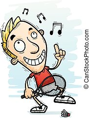 A cartoon illustration of a man badminton player dancing.