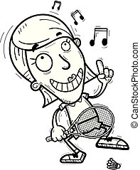 A cartoon illustration of a woman badminton player dancing.