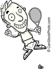 A cartoon illustration of a man badminton player jumping.