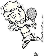 A cartoon illustration of a woman badminton player jumping.