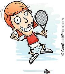 Cartoon Badminton Player Jumping