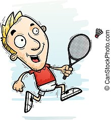A cartoon illustration of a man badminton player running.