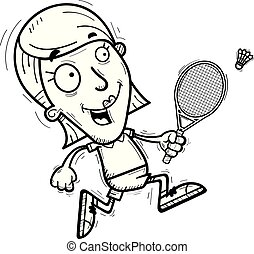 A cartoon illustration of a woman badminton player running.