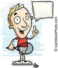 Cartoon Badminton Player Talking