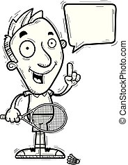 A cartoon illustration of a man badminton player talking.