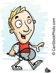 A cartoon illustration of a man badminton player walking.