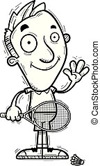 A cartoon illustration of a man badminton player waving.