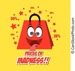 cartoon bag gift prices madness star yellow background