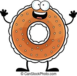 Cartoon Bagel Happy - Cartoon illustration of a bagel with a...
