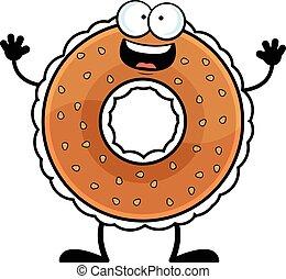 Cartoon Bagel Happy - Cartoon illustration of a bagel with a...