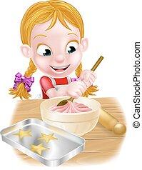 cartoon, bagning, pige