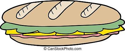cartoon baguette sandwich