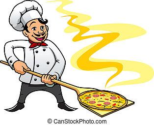 Cartoon baker chef cooking pizza