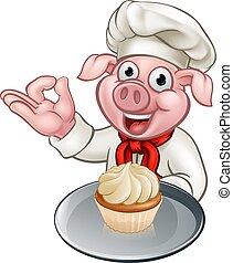 Cartoon Baker Chef Pig Character