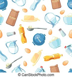 Cartoon baking ingredients seamless pattern