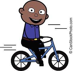 Cartoon Bald Black Man Riding bicycle