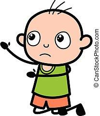 Cartoon Bald Boy Begging
