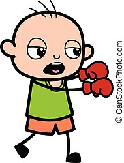 Cartoon Bald Boy Boxing