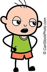Cartoon Bald Boy Discussing