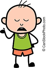 Cartoon Bald Boy Pensive
