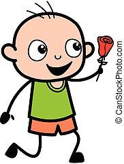 Cartoon Bald Boy Proposing