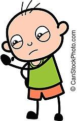Cartoon Bald Boy Threatening