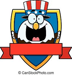 Cartoon Bald Eagle Badge