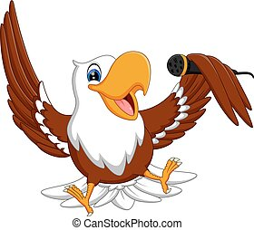 eagle - Cartoon bald eagle standing with wings extended