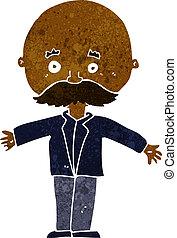 cartoon bald man with open arms