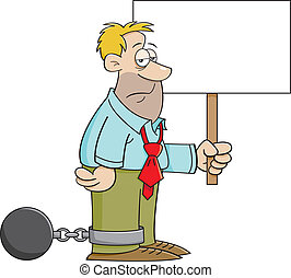 Cartoon Ball and Chain Man with a S - Cartoon illustration...
