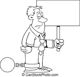 Cartoon Ball and Chain Man with a S - Black and white...