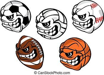 Cartoon balls mascots for sporting games - Cartoon sporting...