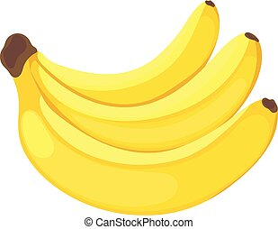 Cartoon Banana fruit flat style isolated on white background.