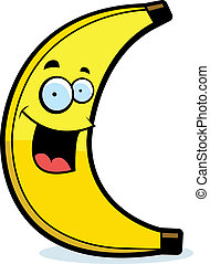 Cartoon Banana Smiling - A cartoon yellow banana smiling and...