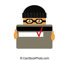 cartoon., banco, fraudster, card., vector