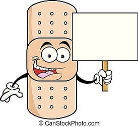 Cartoon bandage holding a sign.