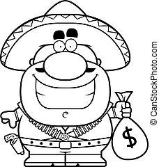 Cartoon Bandito Moneybag - A cartoon illustration of a...