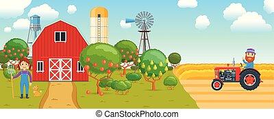 Cartoon banner on agricultural theme