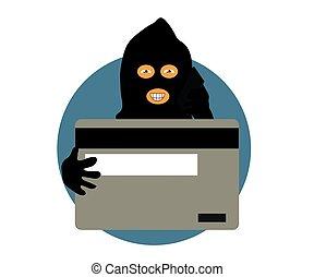 cartoon., banque téléphone, card., scammer, vecteur