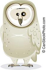 Cartoon Barn Owl Character - Illustration of a funny cute...
