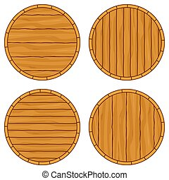 Cartoon barrel top set with copy space