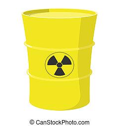 Cartoon barrel with nuclear waste