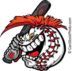 Cartoon Baseball Ball Face with Mohawk Hair Holding Baseball...