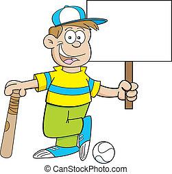 Cartoon baseball kid holding a sign