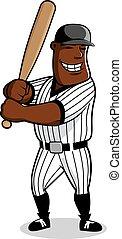 Cartoon baseball player character with bat
