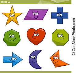 Cartoon Illustration of Basic Geometric Shapes Funny Characters for Children Education